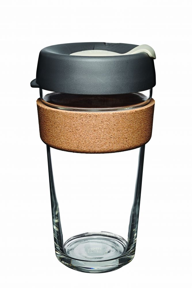 KeepCup Brew Cork Press - skleněný hrnek na kávu 454 ml