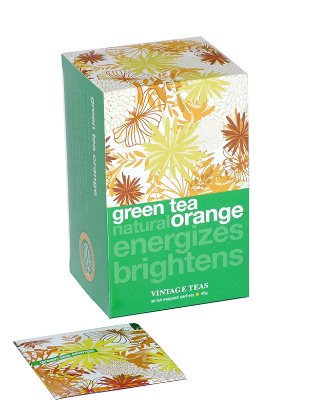 Vintage Teas Zelený čaj – pomeranč 30 x 1,5g sáčky